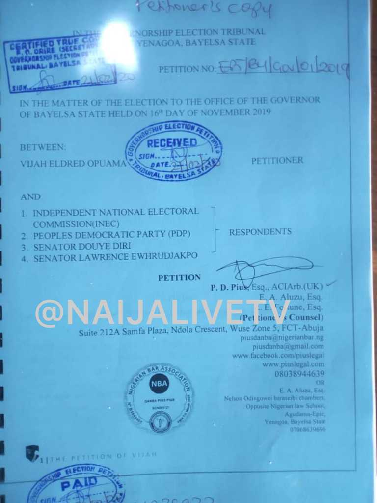 Breaking: Fresh Petition Filed To Disqualify Newly Sworn-In Bayelsa Deputy Governor