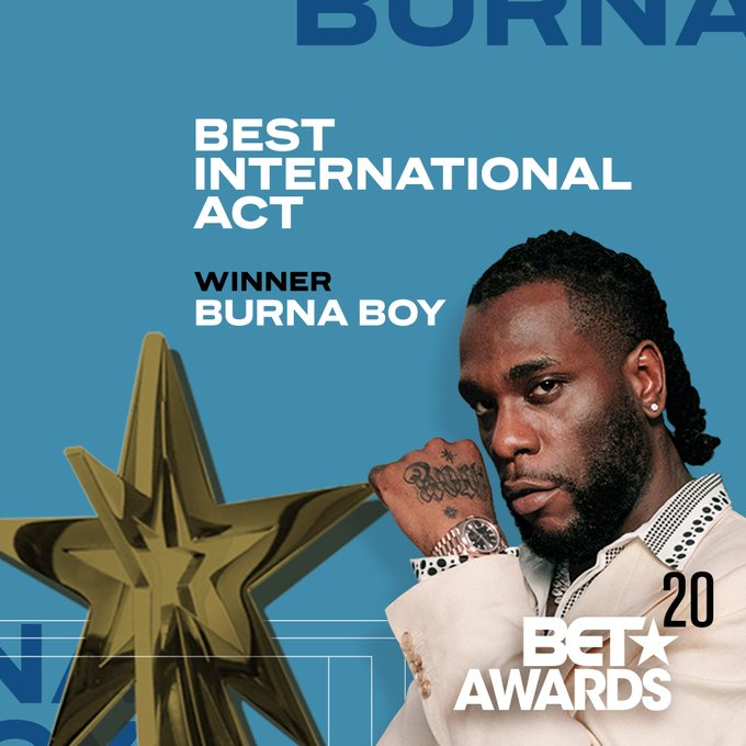 BET Awards 2020: Burna Boy Wins Best International Act