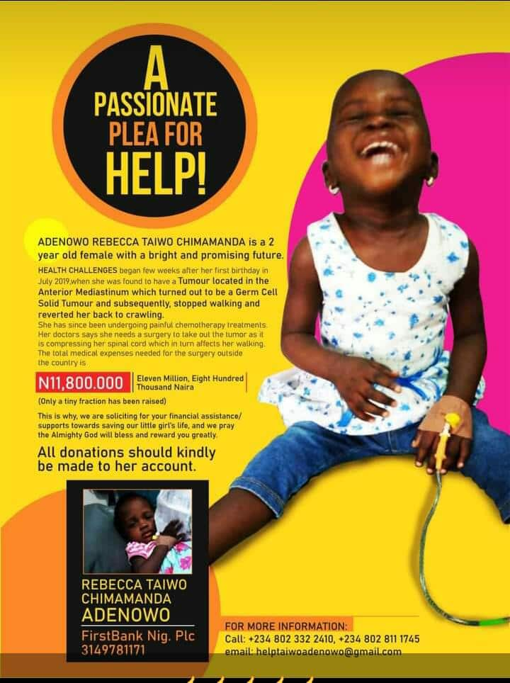HELP! Little Adenowo Rebecca Taiwo Needs N11.8m To Survive