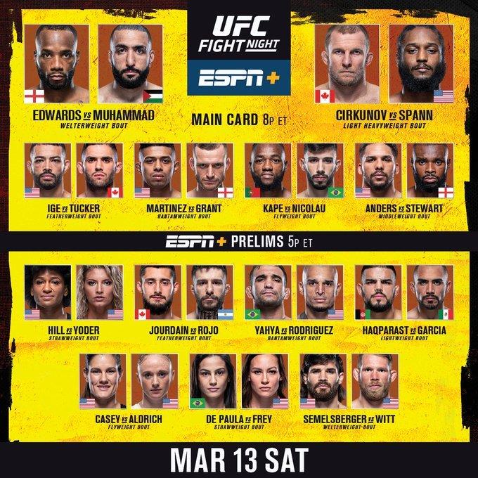 #UFCVegas21: Live Stream Edwards vs Muhammad Here