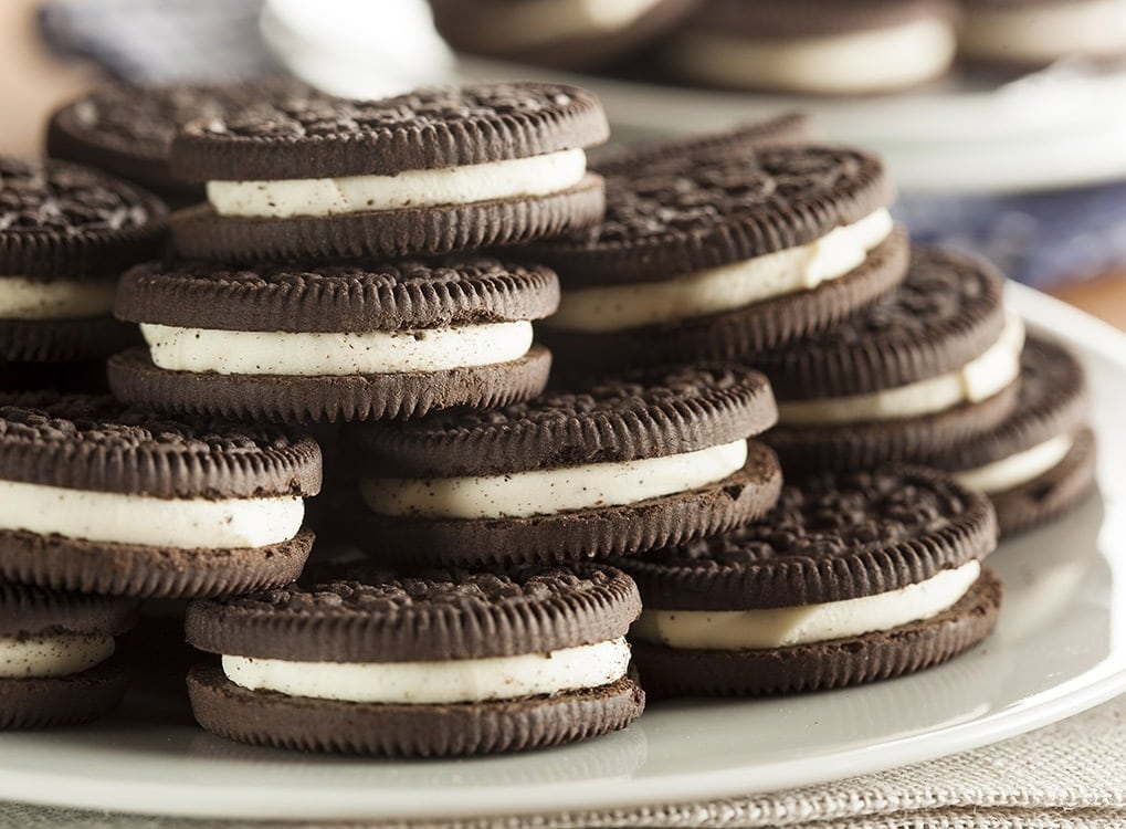 Stack of oreos on plate
