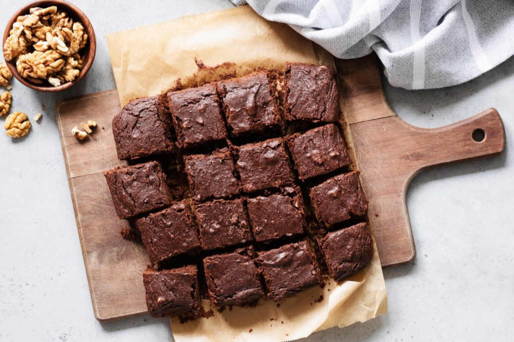 Brownies on cutting board