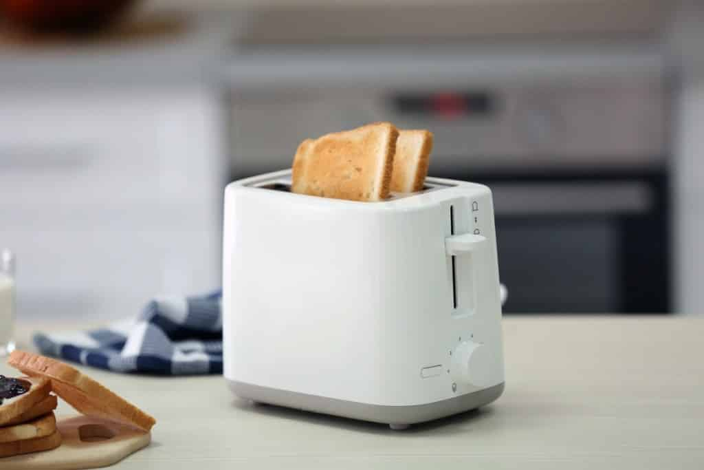 Bread popping out of toaster