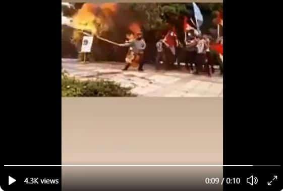 Watch As Fire Burns Man Trying To Burn Israeli Flag (Video)