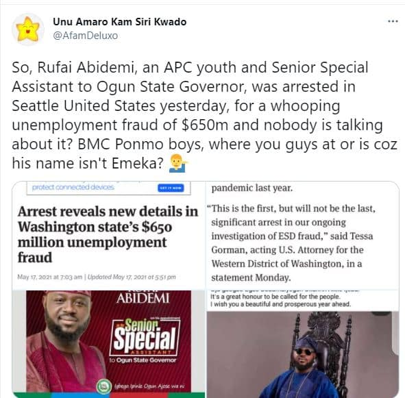 BREAKING: SSA To Ogun State Governor Arrested In US Over Wire Fraud