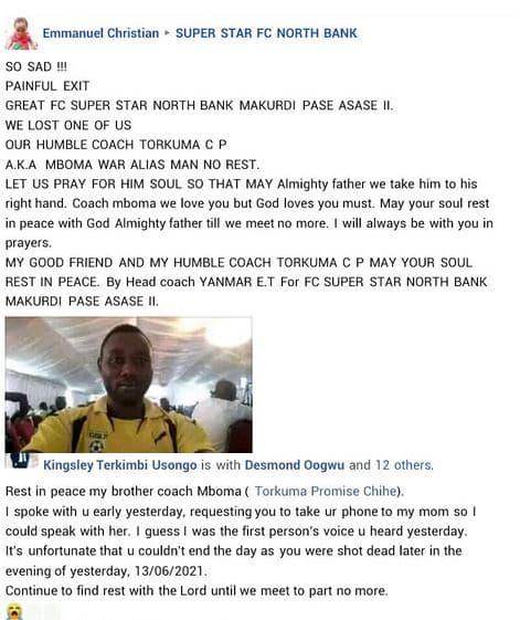 BREAKING: Nigerian Football Coach Shot Dead (Photo)